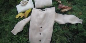 fin. 8 maglia inglese cardigan c/tasche e collo giro, fin.12 maglia c.rovesciato